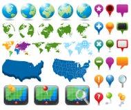 Ícones do mapa e da navegação Fotografia de Stock