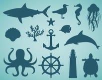 Ícones do mar e grupo de símbolos Animais de mar Elementos náuticos do projeto Vetor Imagens de Stock