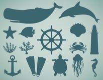 Ícones do mar e grupo de símbolos Animais de mar Elementos náuticos do projeto Vetor Imagens de Stock Royalty Free