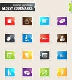 Ícones do marcador do alimento e da cozinha Imagem de Stock Royalty Free