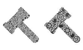 Ícones do martelo do mosaico de ferramentas do reparo ilustração stock