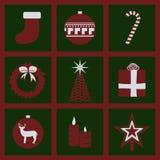 Ícones do material do Natal Imagens de Stock Royalty Free