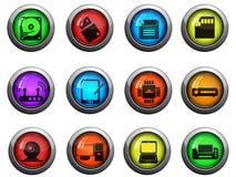 Ícones do material informático ajustados Foto de Stock Royalty Free
