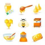 Ícones do mel e da apicultura Fotografia de Stock