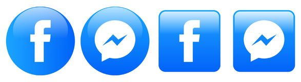 Ícones do mensageiro de Facebook no branco ilustração royalty free