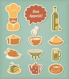 Ícones do menu do restaurante ajustados ilustração royalty free