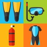 Ícones do mergulho Imagens de Stock