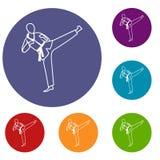 Ícones do mestre de Wushu ajustados Imagem de Stock