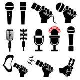 Ícones do microfone no fundo branco Ilustração do vetor Imagens de Stock Royalty Free