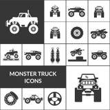 Ícones do monster truck ajustados ilustração stock