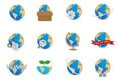 Ícones do mundo ajustados Fotografia de Stock Royalty Free
