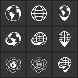 Ícones do mundo da terra do globo do vetor ilustração stock