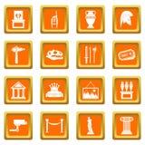 Ícones do museu ajustados alaranjados ilustração royalty free
