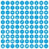 100 ícones do museu ajustados azuis ilustração royalty free