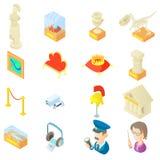 Ícones do museu ajustados no estilo dos desenhos animados Imagem de Stock Royalty Free