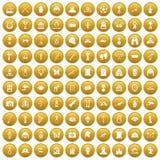 100 ícones do museu ajustaram o ouro ilustração royalty free