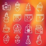 Ícones do Natal ajustados Fotos de Stock Royalty Free