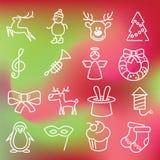 Ícones do Natal ajustados Fotografia de Stock Royalty Free