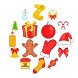 Ícones do Natal ajustados no estilo dos desenhos animados Foto de Stock