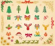 Ícones do Natal ajustados no pergaminho Foto de Stock