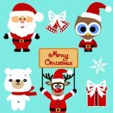 Ícones do Natal coleção Fotografia de Stock