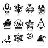 Ícones do Natal com curso - árvore do Xmas, anjo, floco de neve Fotografia de Stock Royalty Free