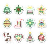 Ícones do Natal com curso - árvore do Xmas, presente, rena Imagens de Stock Royalty Free