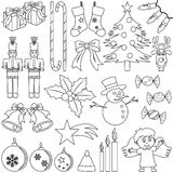 Ícones do Natal da coloração Foto de Stock Royalty Free