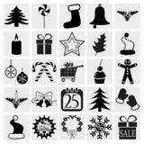 Ícones do Natal e do inverno Fotografia de Stock Royalty Free