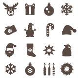 Ícones do Natal Grupo do vetor Fotografia de Stock Royalty Free