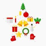 Ícones do Natal no fundo branco Foto de Stock Royalty Free