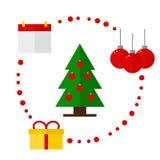 Ícones do Natal no fundo branco Fotografia de Stock