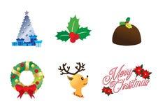 Ícones do Natal no vetor resizable editável completo da cor ilustração stock