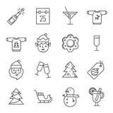 Ícones do Natal - Santa Claus, duende e champanhe ilustração stock