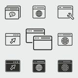 Ícones do navegador ajustados Imagens de Stock Royalty Free
