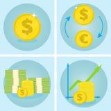 Ícones do negócio Ícone do vetor do dólar Dólares da troca para euro Pilha de dinheiro Fotos de Stock
