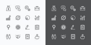 Ícones do negócio ajustados linha lisa vetor do projeto para a Web e o móbil ilustração do vetor