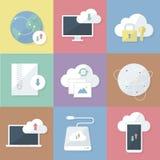 Ícones do negócio ajustados Transferência e armazenamento da nuvem Ilustração lisa do vetor ilustração royalty free