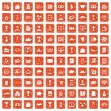 100 ícones do negócio ajustaram o grunge alaranjado Imagens de Stock