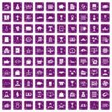 100 ícones do negócio ajustaram o grunge roxo Fotos de Stock