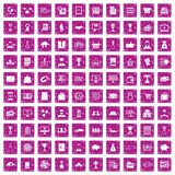 100 ícones do negócio ajustaram o rosa do grunge Imagens de Stock Royalty Free