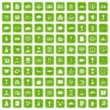 100 ícones do negócio ajustaram o verde do grunge Imagem de Stock Royalty Free