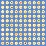 100 ícones do negócio ajustou o vetor dos desenhos animados Imagem de Stock