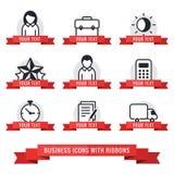 Ícones do negócio com grupo vermelho do vetor das fitas ilustração stock