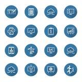 Ícones do negócio & do dinheiro ajustados Projeto liso Sombra longa Imagens de Stock