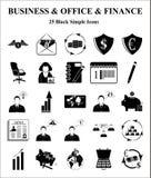 Ícones do negócio, do escritório & da finança ajustados Imagem de Stock Royalty Free