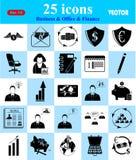 Ícones do negócio, do escritório & da finança ajustados Fotografia de Stock