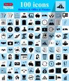 Ícones do negócio, do escritório & da finança ajustados Imagem de Stock