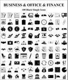 Ícones do negócio, do escritório & da finança ajustados Fotos de Stock