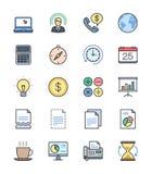 Ícones do negócio & do escritório, grupo de cor 2 - Vector a ilustração Imagens de Stock Royalty Free